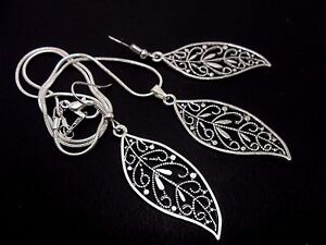 Earrings and Pendant Set Leaf Themed Set