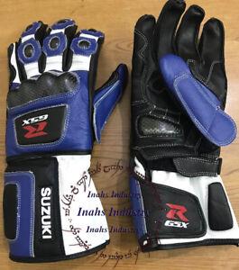 Suzuki R GSX Motorbike Original Leather Motorcycle Gloves full Protected