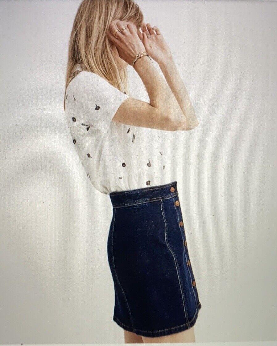 Madewell Stretch Denim A-Line Mini Skirt: Button-… - image 2