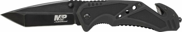 SMITH & WESSON S&W Black M&P Folding ALUMINUM Tanto Pocket Knife SWMP11B