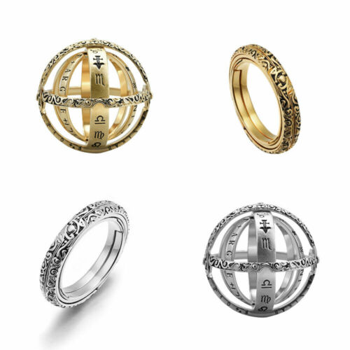 Sphère astronomique boule bague bague couple amoureux bijoux cadeau Vintage YCS