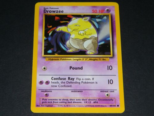 NM//M Condition Pokemon Base Set 1 COMMON Drowzee 49//102