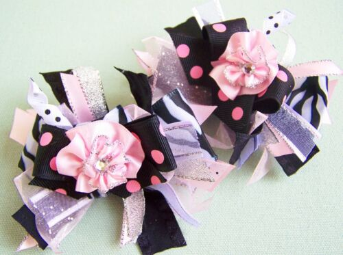 "2 NEW Loopy /""FUNKY PINK BLACK ZEBRA/"" bOuTiQuE Piggie Hair Bows LOADED!"