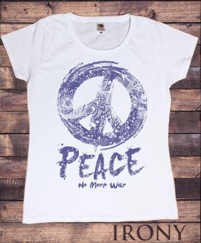 No More War/' Print TS228 Women's White T-Shirt Peace CND Icon /'Peace