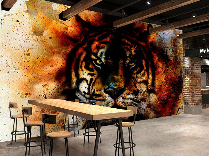 3D Graffiti Tiger Road 7 Wall Paper Decal Dercor Home Kids Nursery Mural  Home