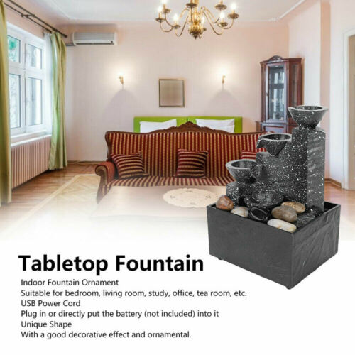 11.2 Inch Relaxation Waterfall Feature LED Decorative Tabletop Water Fountain