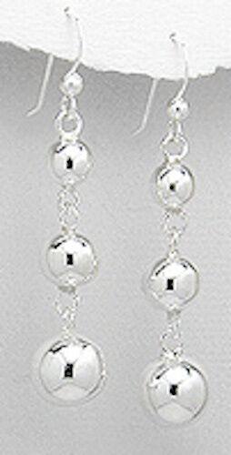 7.24g Solid Sterling Silver Classic Triple Ball Dangle Earrings 55mm