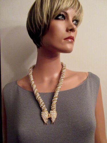 K.J.L. 1960s Beaded Crystal Snake Necklace Gold Pl