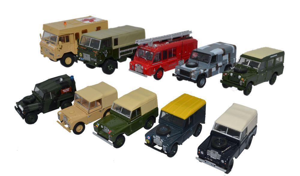 Oxford tärningskast Set x 10 Land Rover militär- 76SE57 OO skala (även Suit HO)
