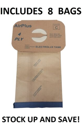 8 Bags for Electrolux Canister Vacuum Style C 4 Ply
