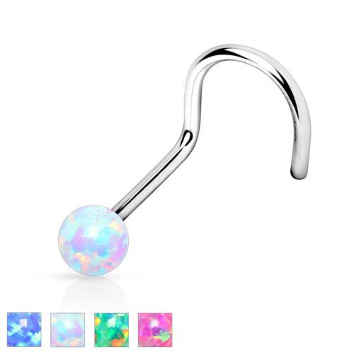 2mm OPAL Gem Stud NOSE Screws RINGS Bones BODY Piercings Jewelry 20 or 18 gauge