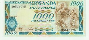 1000 Francs RWANDA 1988 (5 N° consécutifs) P.21a - vendus à l'unité - NEUF - UNC