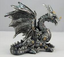 Sitting Steampunk Dragon Figurine Statue Collectible Geek Ornament Fantasy