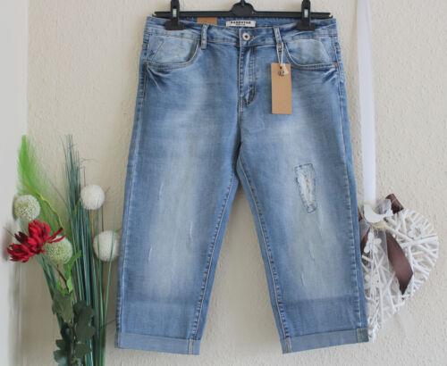 Donna Jeans Stretch Capri Pantaloni Blu con Paillettes Destroy TG 38+40+42+44+46