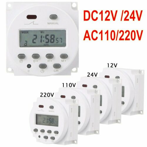 Digital LCD Relay Switch Weekly Programmable Electronic Time Timer 12V//110V//220V
