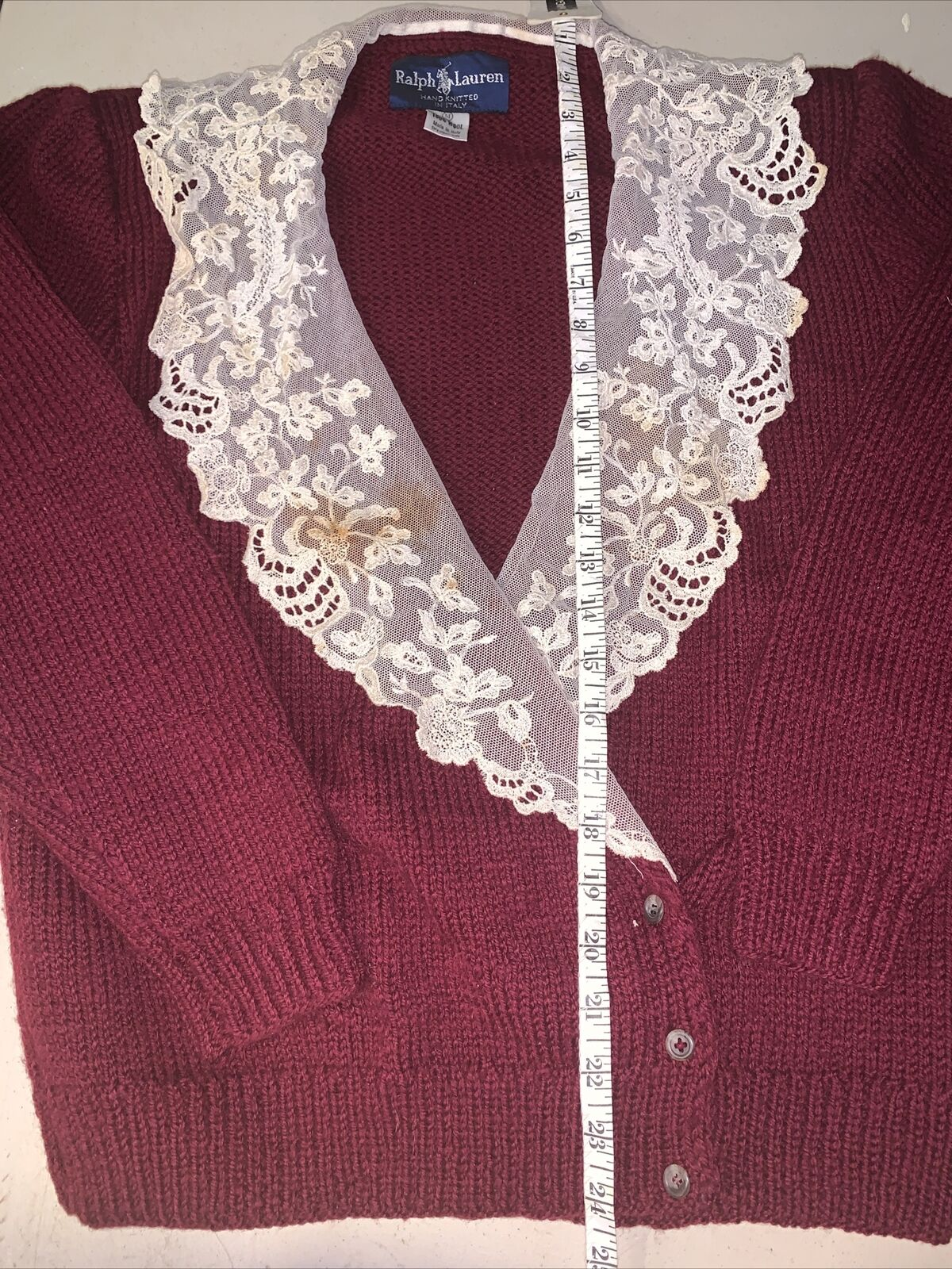 Vtg Ralph Lauren 1980's Wool Cardigan with Lace Collar Med shoulder pads maroon