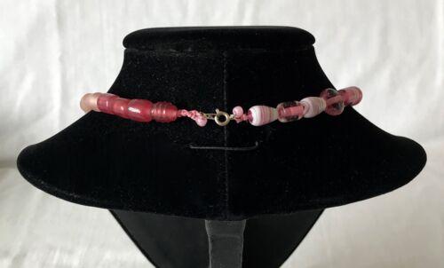 ROSA FANTASIA VENEZIANA ORO Aventurine Art Glas TRADE Collana Di Perline Antico Vintage