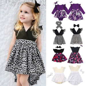 Toddler Baby Girls Sister Matching Romper Dress Floral Sundress Outfits Clothes
