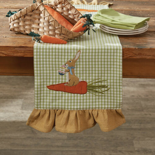 Home Garden Table Runners Bunny On Carrot Table Runner 42 Long By Park Designs Appliqued Ruffled Easter