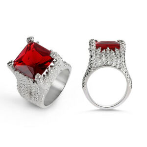 Antique-Women-Fashion-Engagement-Jewelry-Silver-Plated-Wedding-Huge-Ruby-Ring