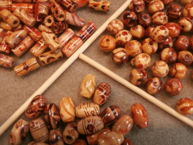 100pcs Wood Beads Tube Oval Orange Color.