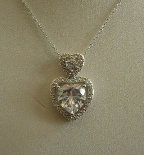 STACKED HEART NECKLACE PENDANT W// LAB DIAMOND //16/'/' TO 18/'/'// 925 STERLING SILVER