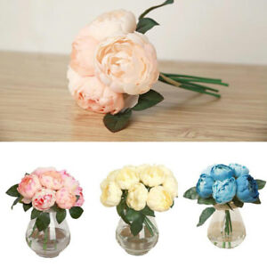 1-Bouquet-6-Heads-Artificial-Peony-Silk-Flower-Leaf-Home-Wedding-Party-Decor