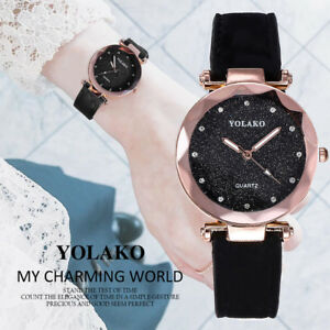 Fashion-Women-039-s-Casual-Quartz-Leather-Band-Starry-Sky-Watch-Analog-Wrist-Watch