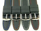 HQ Black Rubber Band w/ Color Stitch Watch Band for 22mm 20mm 18mm Lug Strap