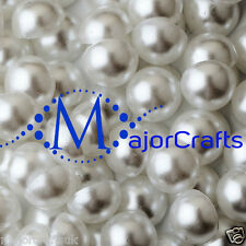 50pcs White 14mm Flat Back Half Round Resin Pearls, Crafts Beads by MajorCrafts