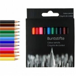 24x Buntstifte Malstifte Colour pencils Bunt-Stifte Zeichenstifte 12 Farben 9 cm