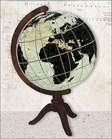 Sam Appleman  Vintage Globe Keilrahmen-Bild Leinwand Globus Weltkarte