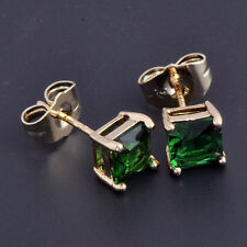 Yellow Gold Plated Womens Fashion Emerald Green Crystal Punk Stud Earings Square
