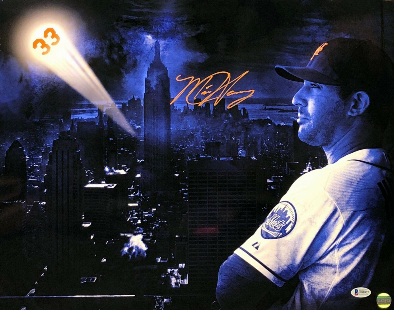 Matt Harvey Signed New York Mets Baseball 16x20 Photo BAS B81872