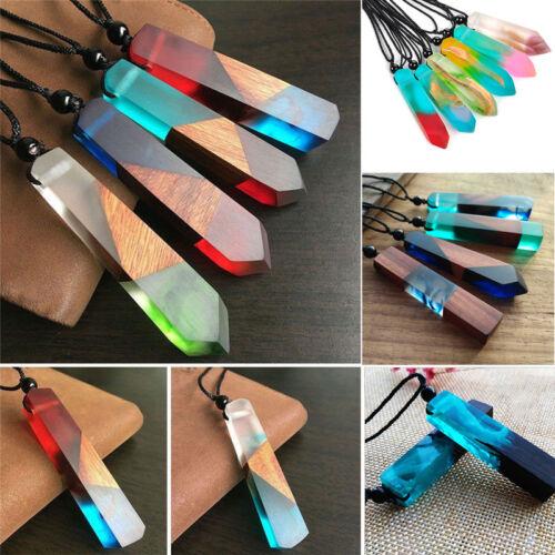 Random Colors Resin Wood Pendant Women//Men Handmade Necklace Rope Chain Jewelry