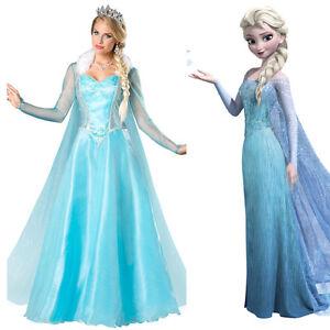 Halloween Outfit Frozen Elsa Costume Dress Ice Queen Cosplay Adult Ladies Dress