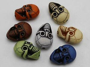 20-Mixed-Color-Halloween-Gothic-Skull-Acrylic-Beads-25mm-Double-side