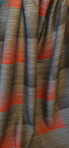 Nr 2072 Vorhangstoff Dekostoff Gardinen Stoff Streifen grau rot schwarz