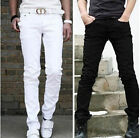 Cool Fashion Men Black White Straight Slim Fit Jeans Trousers Long Pencil Pants