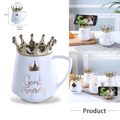 Nordic Style Ceramic Mug Crown Lid Coffee Tea Water Cup Girl Creative Gift