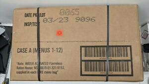 FRESH NEW MEALS READY TO EAT MRE CASE A MENU 1-12 MREs FOOD RATIONS INSP 2023