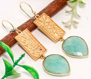 925-Solid-Sterling-Silver-Gold-Plated-Amazonite-Earrings