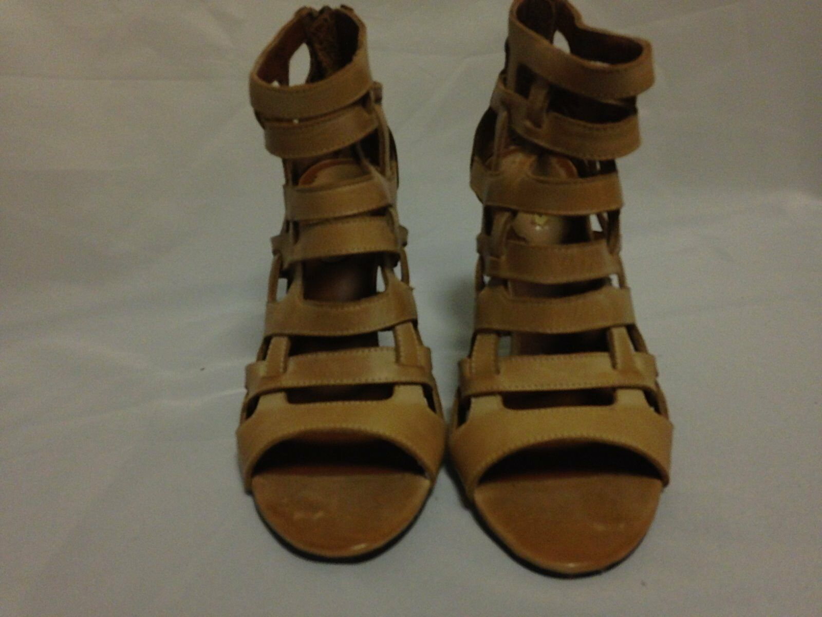 Maxstudio Elaine Caged Ankle Bootie 5.5 M Cuoio Burnish Leder NEU with Defects