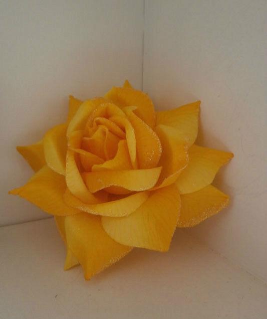 YELLOW GLITTER ROSE FABRIC FLOWER FASCINATOR CLIP PONYTAIL HOLDER PIN Generic
