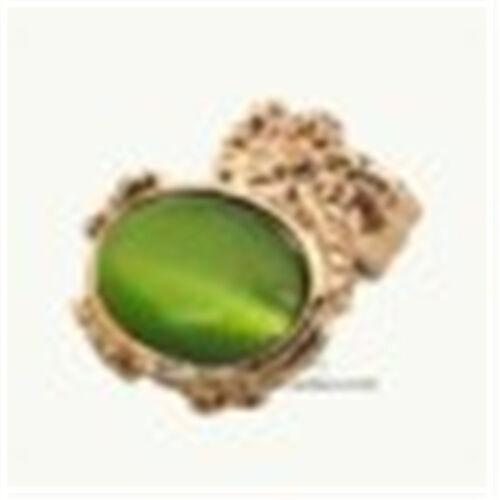 Vintage Art Déco style ton doré ovale bague avec pierre multiple couleurs