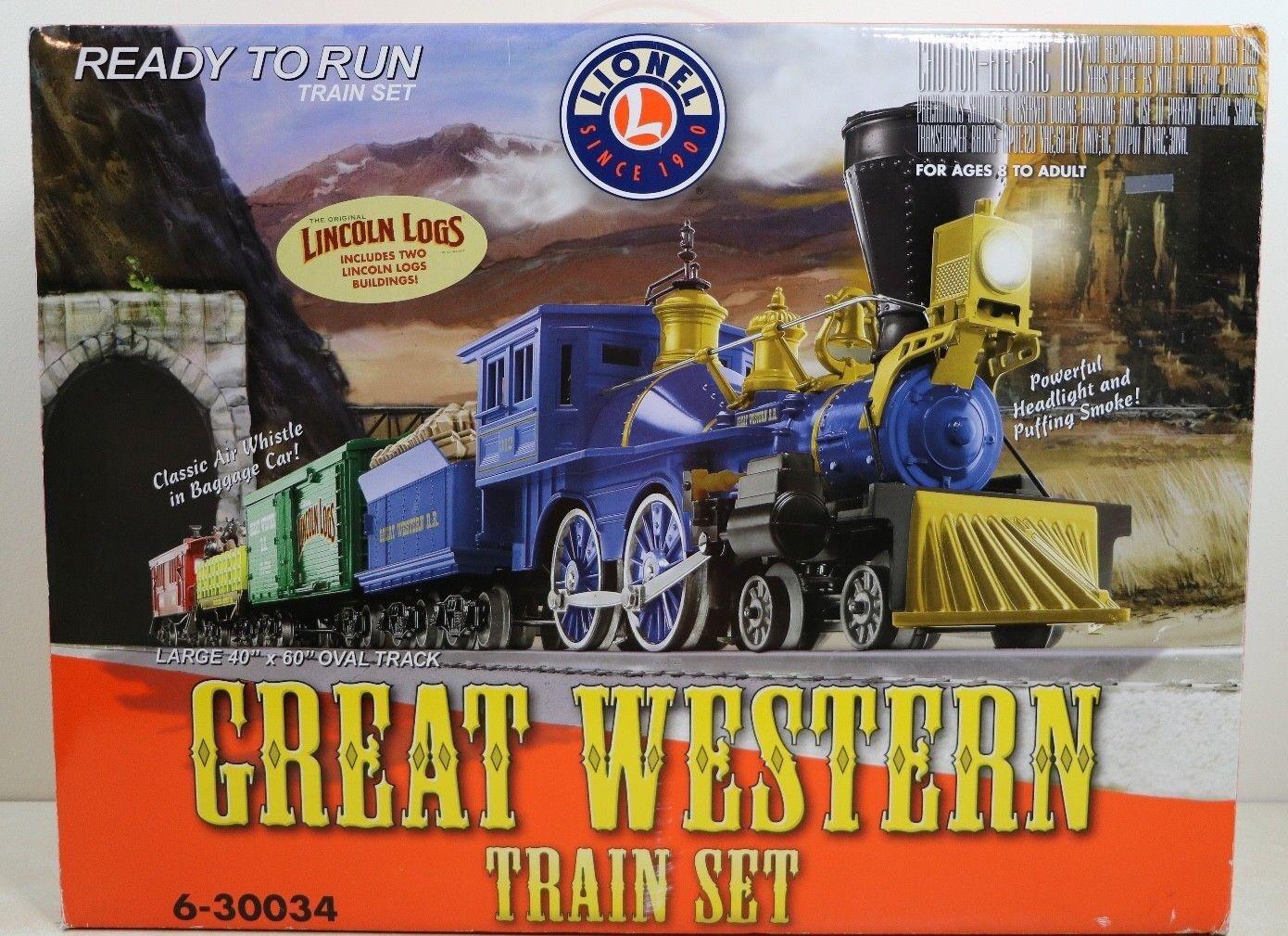Tren Lionel Great Western o calibre Set 6-34 expansión de carga con Lincoln Logs