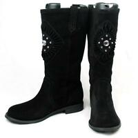 Yellow Box Suede Leather Mid Calf Rhinestone Jewel Womens Boots Black/brown