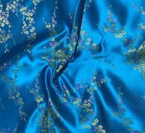 Turquoise Gold Dogwood Cherry Blossom Faux Silk Brocade Fabric BTY Material