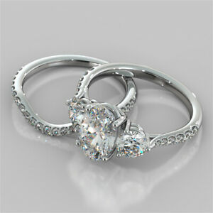 3.47 Ct Oval Cut Moissanite Engagement Band Set 18K Real White Gold Ring Size 6