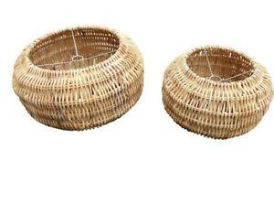 Rattan-Wicker-Lampshades-Lamp-Celling-Retro-Drum-Basket-Natural-Kitchen-Pendant